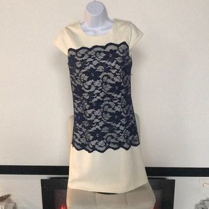 Dresses & Skirts - Light cream Dress with navy lace